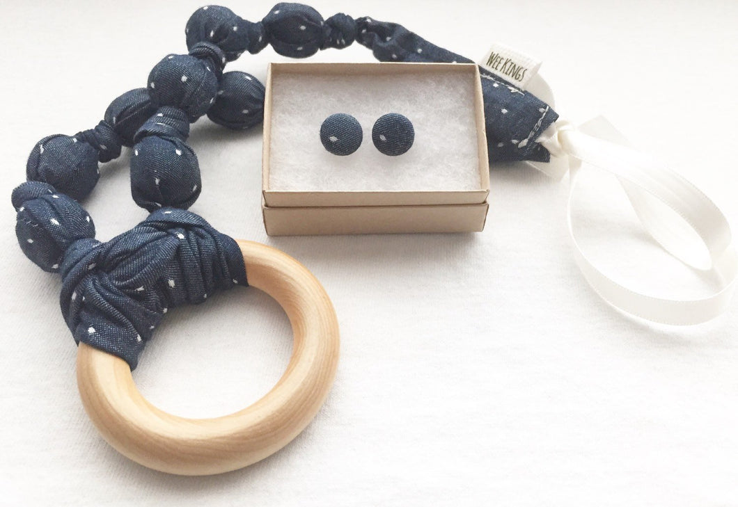 Blue Polka Dot Chambray Fabric Teething Ring Statement Necklace by Wee Kings