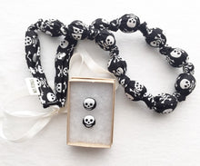 Load image into Gallery viewer, Skulls Fabric Teething Statement Necklace by Wee Kings