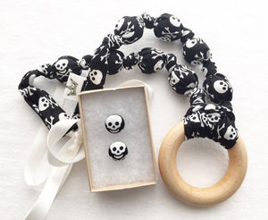 Skulls Teething Ring Statement Necklace by Wee Kings