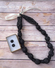 Load image into Gallery viewer, Black Chambray with Dots Fabric Teething Statement Necklace by wee Kings