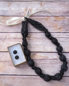 Black Chambray with Dots Fabric Teething Statement Necklace by wee Kings