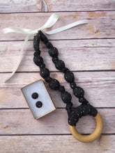 Load image into Gallery viewer, Black Chambray with Dots Fabric Teething Ring Necklace by Wee Kings