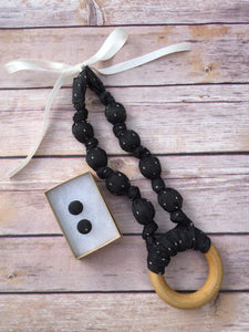 Black Chambray with Dots Fabric Teething Ring Necklace by Wee Kings