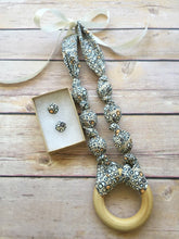 Load image into Gallery viewer, Pebbles Fabric Teething Ring Statement Necklace by Wee Kings