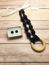 Load image into Gallery viewer, Black Fabric Teething Ring Necklace by Wee Kings