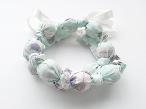 Organic Turquoise Floral Breeze Fabric Teething Nursing Necklace by Wee Kings