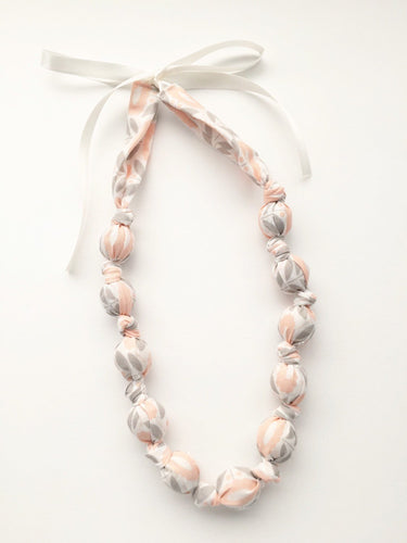 Organic Pink Morning Song Fabric Teething Necklace by Wee Kings