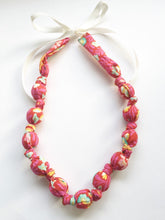 Load image into Gallery viewer, Pink Eden Fabric Teething Nursing Necklace by Wee Kings