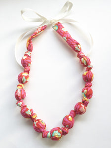 Pink Eden Fabric Teething Nursing Necklace by Wee Kings