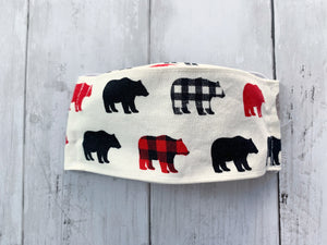 Premium Face Cover Bears and Maps