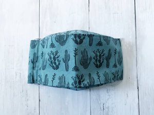 Premium Face Cover Teal Succulents