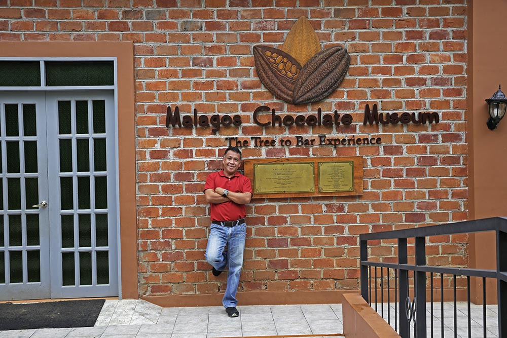 Farmer and chocolate maker Rex Puentespina at the Malagos Chocolate Museum.