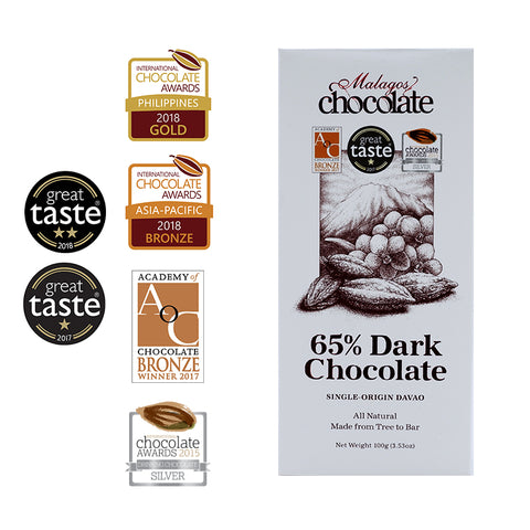 Malagos 65% Dark Chocolate Bar (pack of 6 bars)