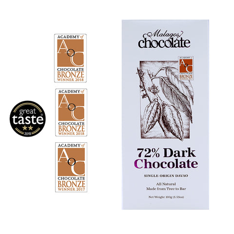 Malagos 72% Dark Chocolate Bar (pack of 6 bars)