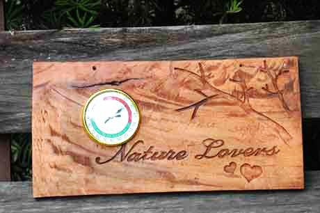 Shop online wooden signages handcrafted  by famous Paete Carvers. Fitted with a thermometer / hygrometer, this unique signage is both functional and decorative. A great housewarming gift!  Delivers in the Philippines! Buying gifts made easy!