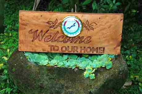 Shop online for wooden signages handcrafted  by famous Paete Carvers. Fitted with a thermometer / hygrometer, this unique signage is both functional and decorative. A great housewarming gift!  Delivers in the Philippines! Buying gifts made easy!