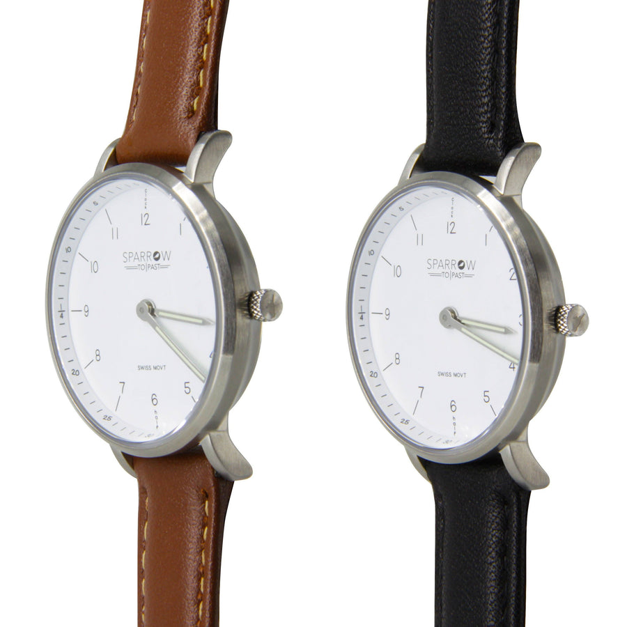 Brushed Stainless Steel Kids Watch, with two bands Black and Brown - Sparrow Watches