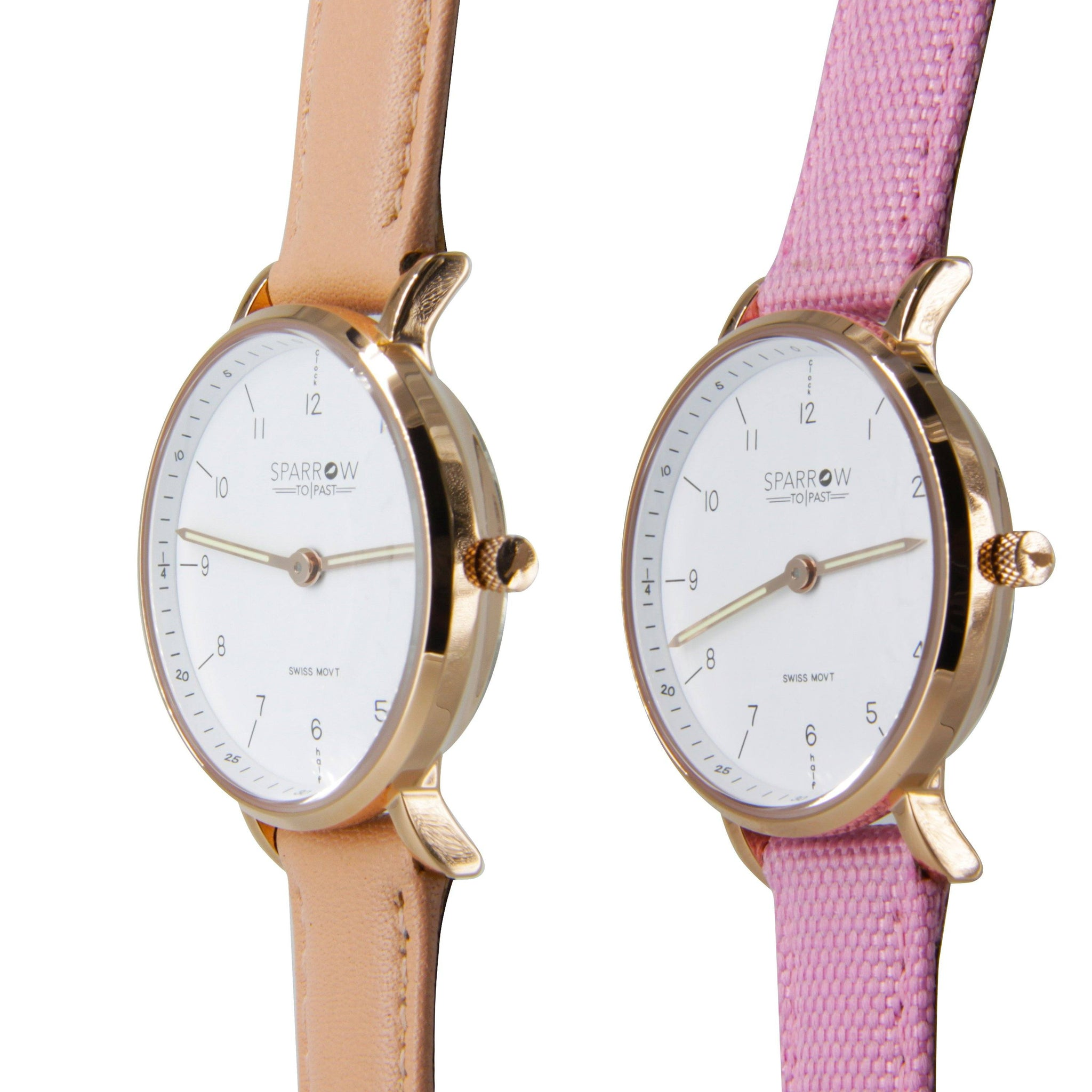 Girls Watch - Rose Gold, with Blush and Pink bands - Sparrow Watches