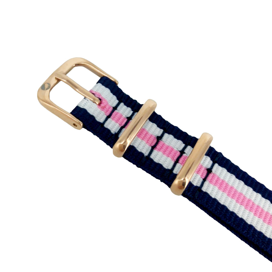 Kids Pink, White and Blue NATO Band-Watch Band-Sparrow Watches