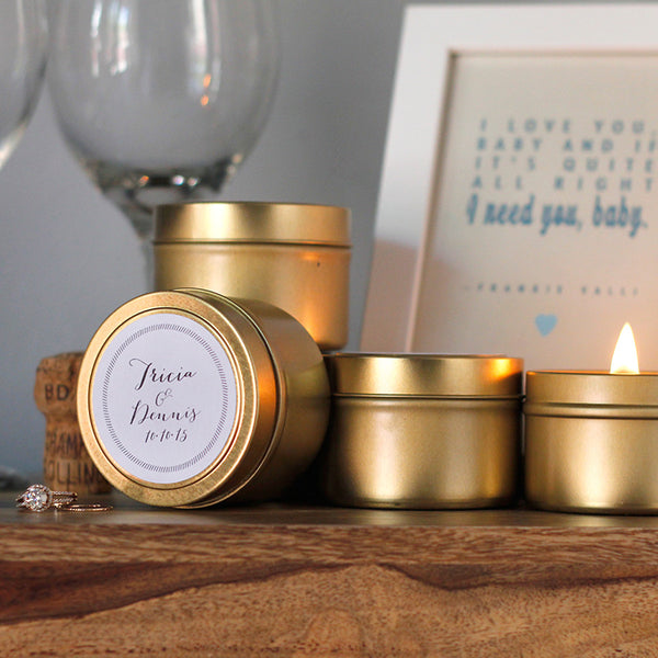 soiree gold tin candles. the best favors for your special event.