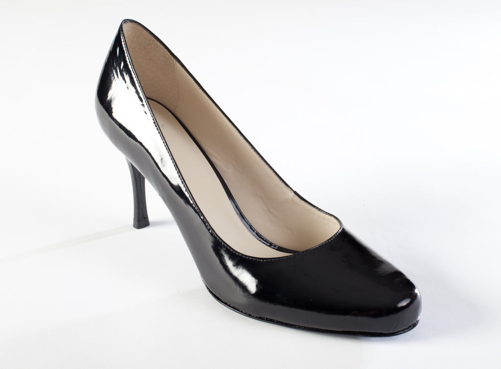 078454553 Classic Large Size Black Patent Leather Pump with 3 inch heel ...