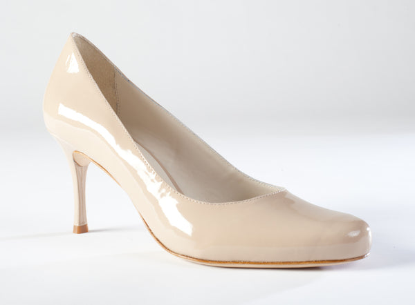 Large Size Dress Pumps, Large Size Dress Shoes, Nude Patent Pumps Large Size