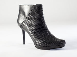 Beatriz Platform Bootie - Woven Black Leather