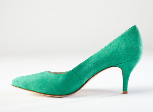 emerald green suede kitten heel, large size kitten heel