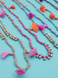 Kriti Tassel Necklace Hot Pink