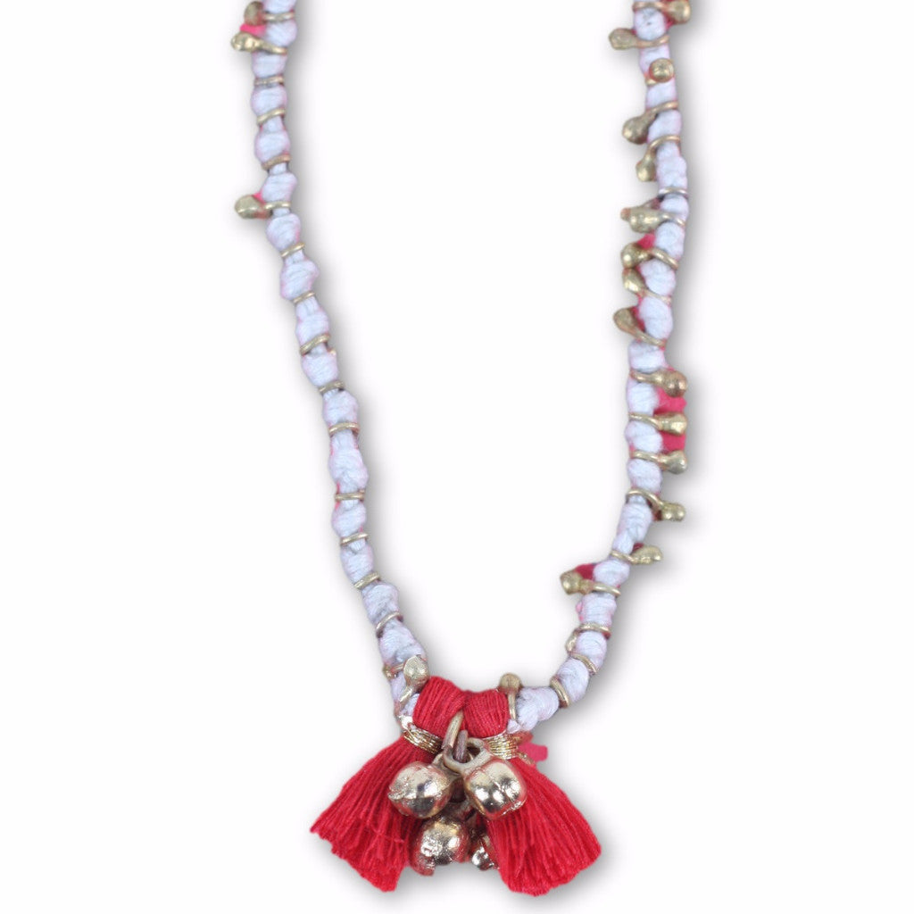 Maya Bead Necklace White / Red