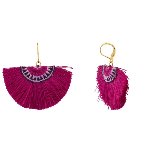 Sophie Fan Tassel Earrings Fuchsia