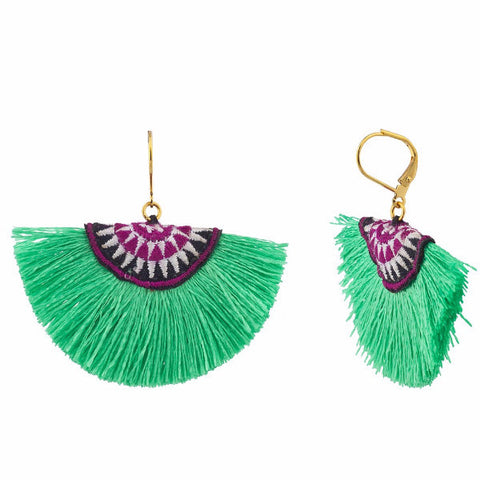 Sophie Fan Tassel Earringas Mint