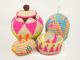 Indego Africa, Lidded floor basket - Pink & neon - Sunday in color
