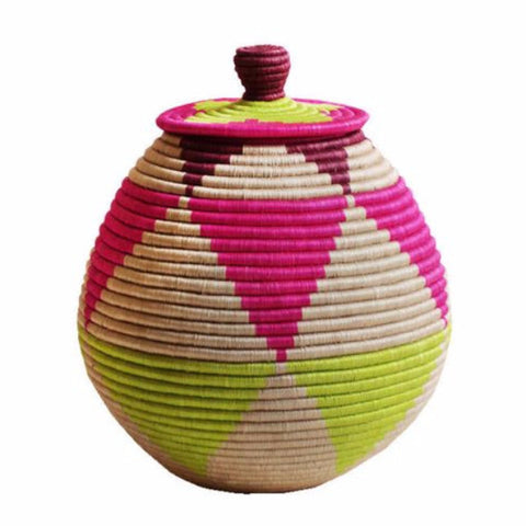 Lidded floor basket - Pink & neon