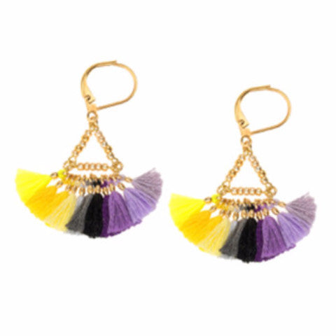 Lilu Tassel Earrings in Yellow / Purple