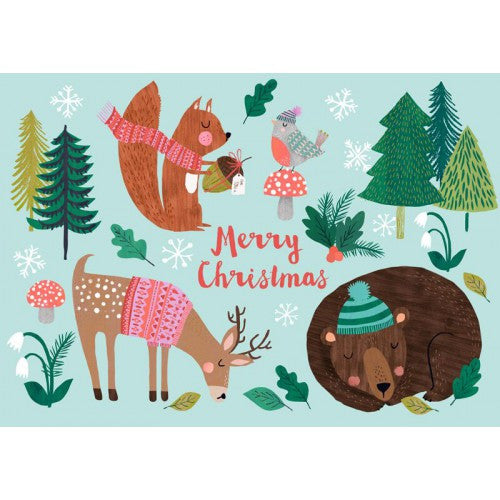 Psikhouvanjou, Rebecca Jones postcard Merry Christmas Animals - Sunday in color