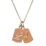 Rose Gold Initial Necklace, engraved initial necklace, script necklace