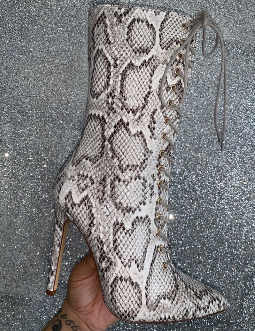 "Kourtney Bootie ""Beige Snake"""