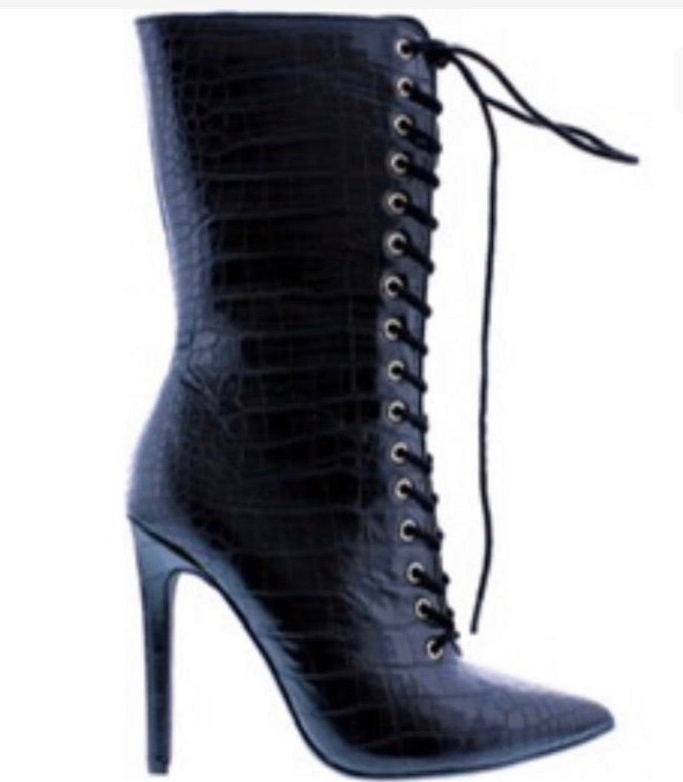 "Kourtney Bootie ""Black Croc"""