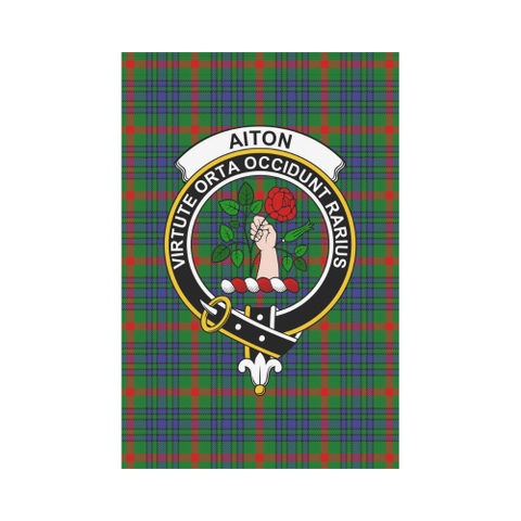 Aiton Clan Badge Tartan Garden Flag
