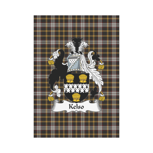 Kelso Clan Badge Tartan Garden Flag