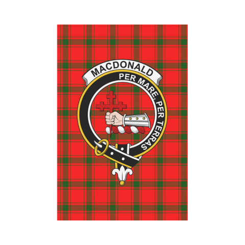 Image of MacDonald of Sleat Clan Badge Tartan Garden Flag