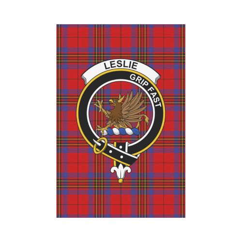Leslie  Clan Badge Tartan Garden Flag