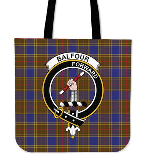 Balfour Clan Badge Tartan Tote Bag