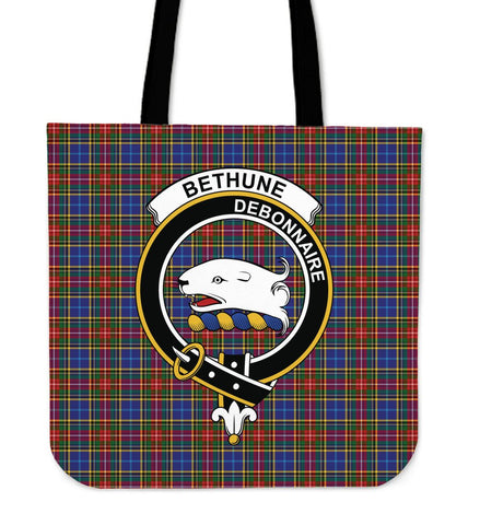 Bethune Clan Badge Tartan Tote Bag