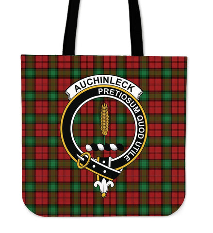 Auchinleck Clan Badge Tartan Tote Bag