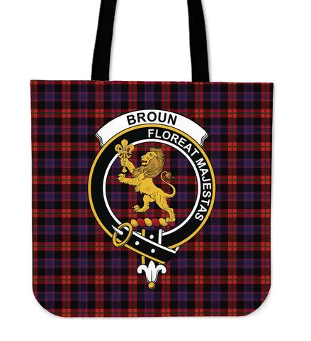 Broun Clan Badge Tartan Tote Bag