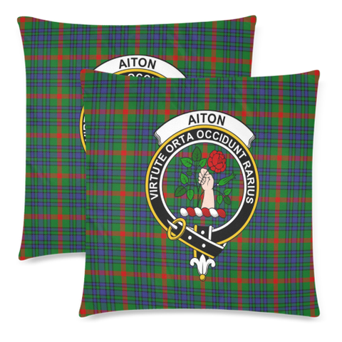 Image of Aiton  Clan Badge Tartan Pillow Cover