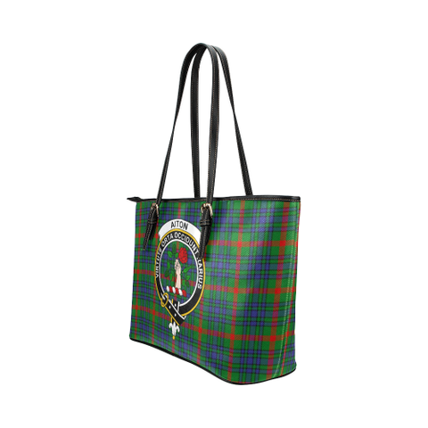 Image of Aiton Clan Badge Tartan Leather Tote Bag