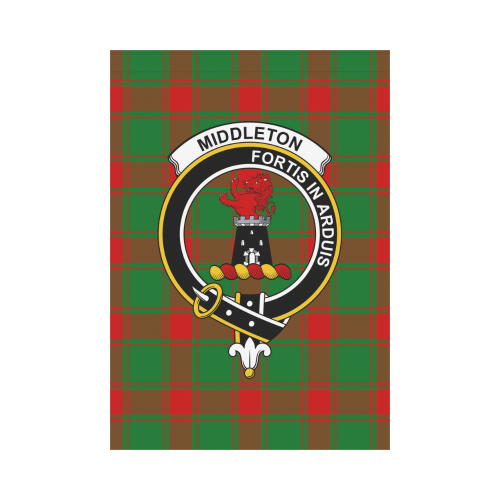 Middleton  Clan Badge Tartan Garden Flag